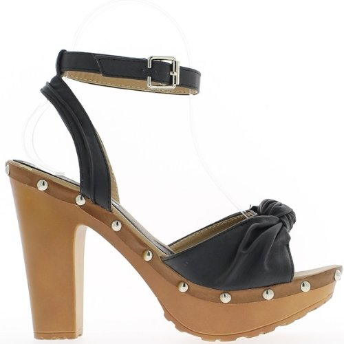 Sandales noires à gros talons de 11,5cm et plateau de 3,5cm