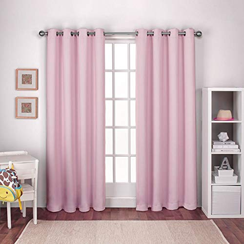 Exclusive Home Curtains Textured Woven Blackout Window Curtain Panel Pair with Grommet Top, 52x84, Bubble Gum Pink, 2 Piece