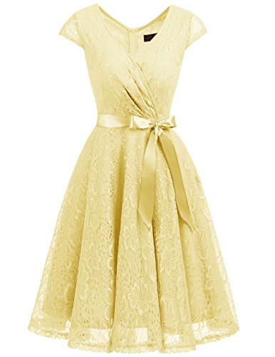 DRESSTELLS Women's Bridesmaid V Neck Ruched Dress Floral Lace Cocktail Dresses with Belt Yellow XL