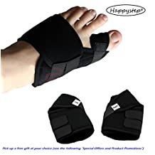 HappyStep Big Toe Bunion Splint Hallux Valgus Foot Pain Relief Corrector, L, M, S 3 Size available package for 2 (left foot + right foot) (M: Woman Size 6 - 10 or Man Size 6 - 8)