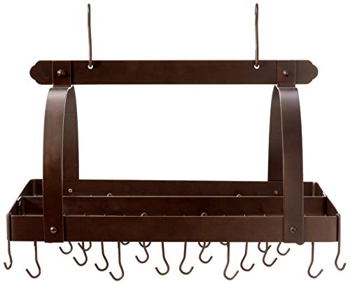 "Old Dutch Rectangular Hanging Pot Rack with Grid & 24 Hooks, Oiled Bronze, 30"" x 20.5"" x 15.75"""