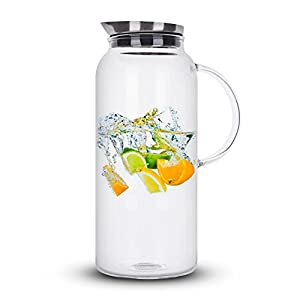 68 Ounces Glass Pitcher with Lid, Hot/Cold Water, Juice Jar and Iced Tea Pitcher