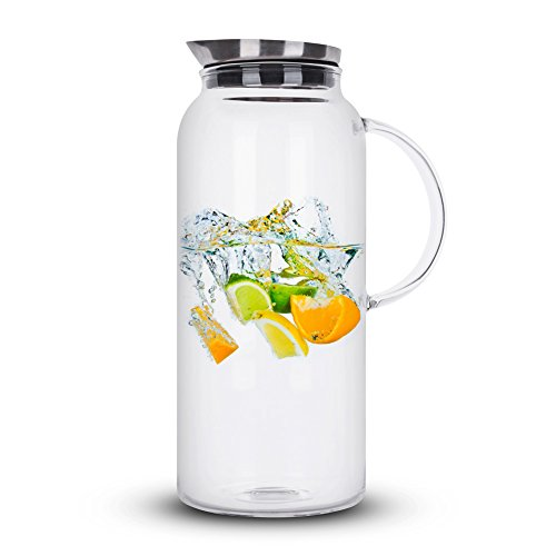 68 Ounces Glass Pitcher with Lid, Hot/Cold Water Carafe, Juice Jar and Iced Tea Pitcher