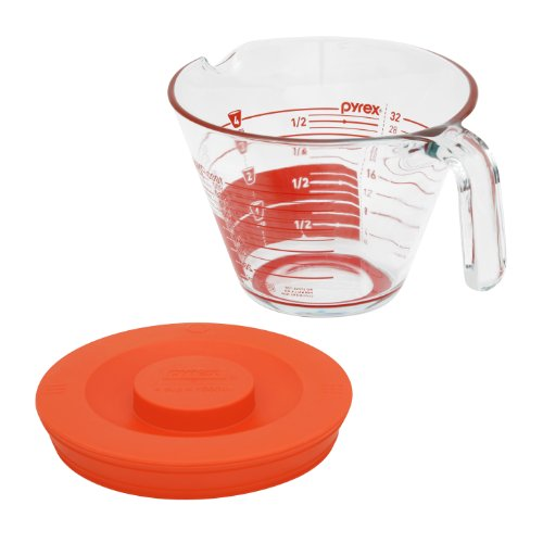 Pyrex GripRite 4-Cup Measuring Cup with Plastic Cover and SiliconeBottom, Read from Above Graphics