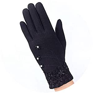 Amazon.com: Winter Women Warm Gloves Solid Lace Cashmere