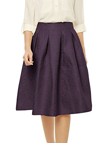 Allegra K Women's High Waist Floral Jacquard Pleated for sale  Delivered anywhere in USA
