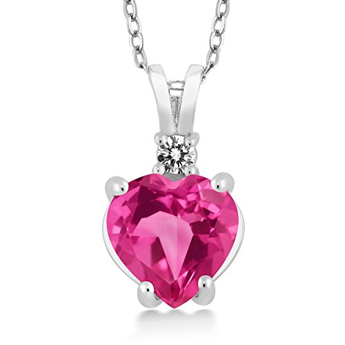 Gem Stone King 14K White Gold Heart Pendant with 2.50 Ct Pink Created Sapphire White Diamond