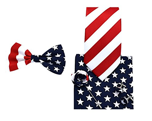 5pc Necktie Gift Box Set American Flag