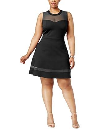 Monteau Trendy Plus Size Mesh-Yoke Fit & Flare Dress (Black ...