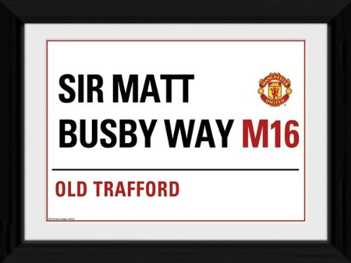 Manchester United - Street Sign Framed and Mounted Print - 35.5x45.4cm