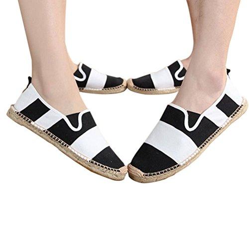 Meijunter Unisex Leisure Low Leinen Segeltuchschuhe Slip-on Schuhe Handgefertigt Hausschuhe Comfy Soft Schwarz w/Weiß