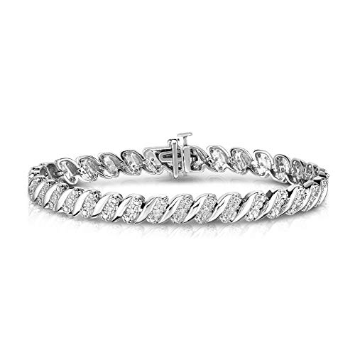 - NATALIA DRAKE Blowout Sale Sterling Silver Wave Link Diamond Bracelet-1/4ctw