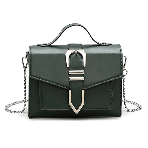 Large Pu Magnetic For Chain Asdflina Green Use Everyday Strap Simple Capacity Bag Retro Messenger Shoulder Bag Suitable Dark pcwqqIdC8x