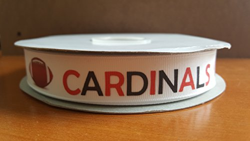 Football Themed Grosgrain Ribbon Perfect for Pop Warner and Youth Leagues (Cardinals)