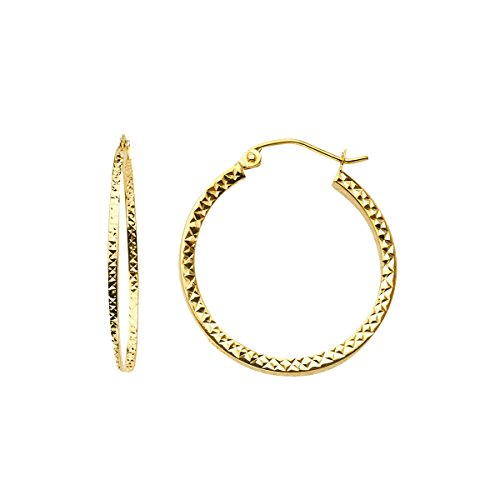 TGDJ 14K Yellow Gold Full Diamond Cut Hollow Square Tube Hoop Earrings (Diameter - 24 MM) by Top Gold & Diamond Jewelry