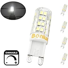 Bonlux Dimmable G9 LED Bulb, 4 Watts LED G9 Corn Light Replace 40 Watts Halogen G9 Bulb, Daylight 6000K, 400LM Bi-Pin G9 Lamp for Crystal Chandeliers Lighting
