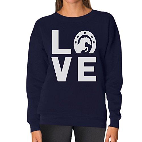(TeeStars - Love Horses - Animal Lover Rearing Horse - Horseshoe Women Sweatshirt Large Navy)
