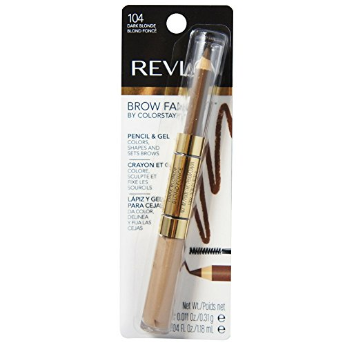 Revlon Brow Fantasy Pencil & Gel, Dark Blonde [104], 0.04 oz (Packs of 2)