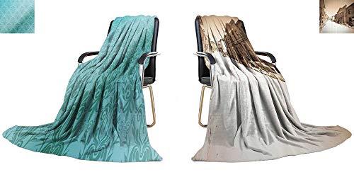 YOYI-home King Flannel Blanket Retro Wallpaper Weave Pattern Extra Long Blanket 70