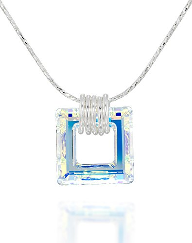 Square Pendant Made with Original Swarovski AB Crystal 925 Sterling Silver Necklace, 18