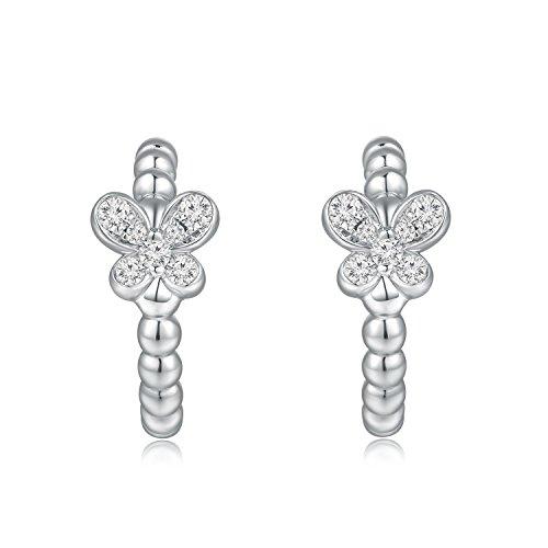 Or blanc 18ct 750avec accents de diamant Perles Papillon J-hoop Boucles d'oreille à tige (0.11CT, G-H Couleur, Vs1-si2Clarté) Femme Bijoux Cadeau Saint Valentin