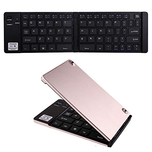 Ultra Thin Portable Wireless Bluetooth Keyboard Mini Foldable Folding Small Pocket Keyboard Metal Slim Rechargeable Fold Compatible with Apple iPhone iPad Samsung Tablets Phone Android iOS (Golden)