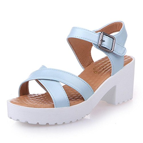 Leder PU Weiß Sandalen Heel achten Sie Bitte Schwarz größer Blau eine auf Beige Gummi bestellen die Damen Blau Größentabelle Bitte Transer® Sandalen Einfach Kitten Nummer XPPwFY