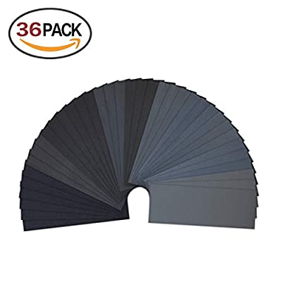 LANHU 120 to 3000 Assorted Grit Sandpaper for Wood Furniture Finishing, Metal Sanding and Automotive Polishing, Dry or Wet Sanding, 9 x 3.6 Inch, 36-Sheets