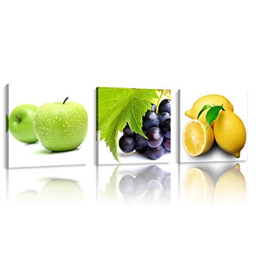 Natural art 3 Panels Stretched and Framed Apple, Lemon, Grape Fruits Design Wall Artwork Paintings Contemporary Pictures for Dining Home Decoration 12x12 Inches