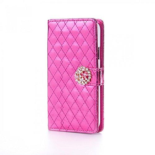Book Style Design Handy Tasche Karo Metallic mit Visitenkartenfunktion Flip Cover Schutz Hülle Schale Klapp Etui Case Modern Bag für Apple Iphone 6 / 6s Plus in Pink