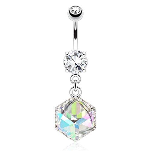 - Dynamique Cube Prism Gem Encased By Paved Gems Dangle 316L Surgical Steel Belly Button Ring