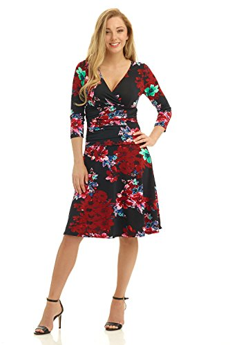 Rekucci Women's Slimming 3/4 Sleeve Fit-and-Flare Crossover Tummy Control Dress (14,Dark Floral) - Floral Print Evening Dresses