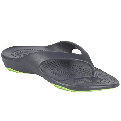 DAWGS Women's Premium Flip Flop,Navy/Lime Green,11 M US