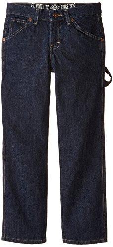 Dickies Big Boys' Denim Carpenter Jeans, Rinsed Indigo, 12 - Logo Carpenter Jeans
