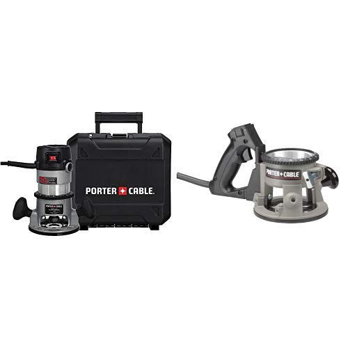 PORTER-CABLE 9690LR 11 Amp 1-3 4-Horsepower Fixed Base Router with 1 4-Inch and 1 2-Inch Collets with 6911 D-Handle Base