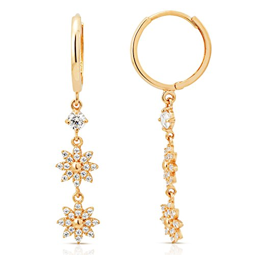 Intricate Dangling Snowflake CZ Earrings in 14K Yellow Gold by Jewel Connection