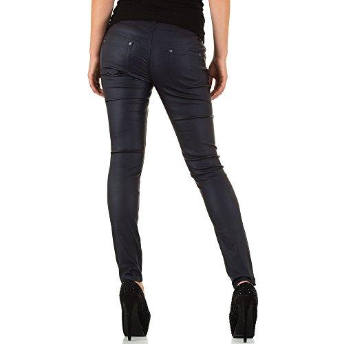 Lederoptik Low Skinny Hose Für Damen , Schwarz In Gr. L/40 bei Ital-Design