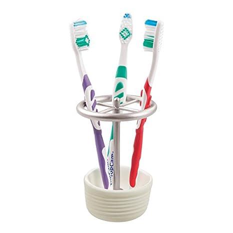 mDesign Soporte para cepillo de dientes – práctico porta cepillos– espacio para hasta cuatro cepillos