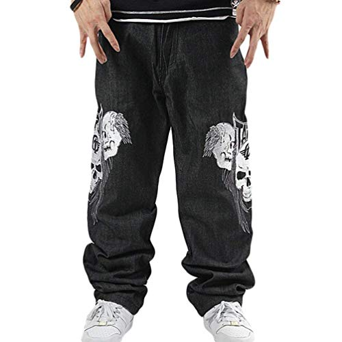 Fit Stampa Slim Vita Skull Da Casual Pantaloni Nero Denim Uomo Donna Bassa Rigato In A Squisita Jeans Con 0AqYI