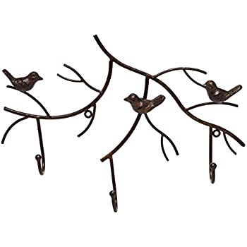 Amazon Com Cast Iron Birds On Branch Hanger With 6 Hooks