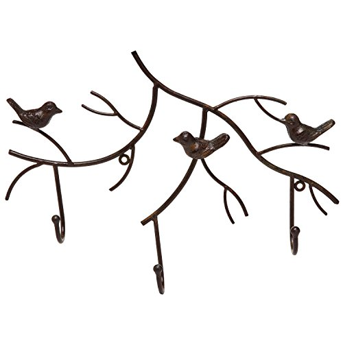 Iron Branch Wrought (Wall Mounted Rustic Bronze Decorative Metal Tree Branch Design 3 Coat Hooks Storage Hanger Rack - MyGift)
