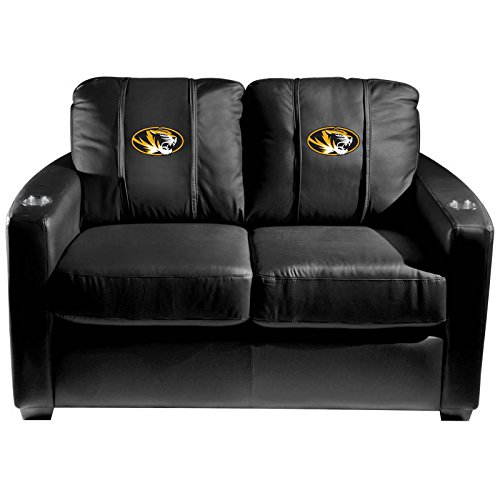 XZipit College Silver Loveseat with Missouri Tigers Logo Panel, Black