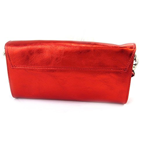 Ledertasche tasche 'Frandi'rote metall (2 falten).