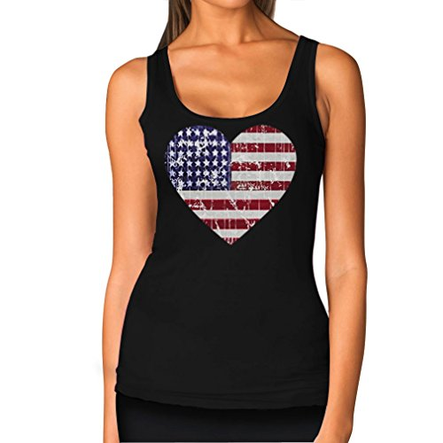 American Heart Flag USA Flag Heart Patriotic 4th Of July Women's Tank Top Small - Flag American Heart