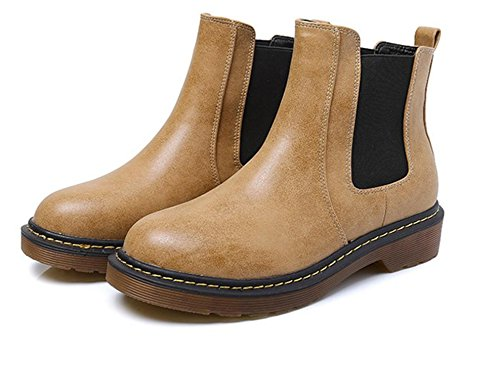 Tilfeldige Tykk Lær Tørke Bunn Nsxz Pu Rund Soilyellow Med Grov Vind 90160cm Britisk Flat Støvletter qTxpwtA