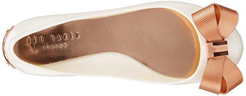Ted Baker Womens Larmiar Pvc Fiocco Slip On Scarpa Piatta Bianco / Oro Rosa Bianco