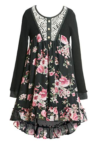 SaraSara Big Girls Long Sleeve Hi Low Dress (with Many Options), 7-16 (16, Black Multi)