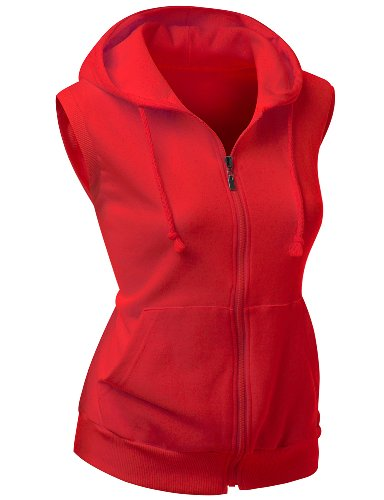 Women hooded Cotton Vest RED XXL