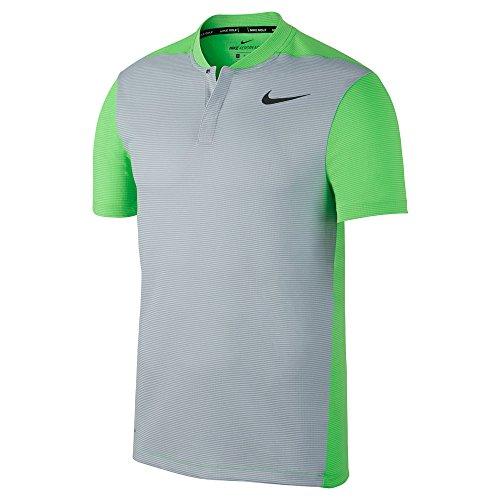 NIKE AeroReact Slim Golf Polo 2017 Wolf Gray/Green Strike/Black Large Custom Nike Golf Shirts