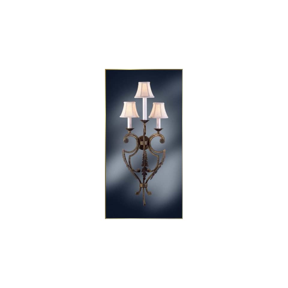 Wrought Iron Wall Sconce, MG 4200, 3 lights, Rustic Grey, 14 wide X 38 high